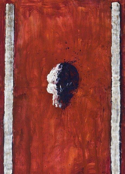 Bruno Olivi, Volto, 2006, acrilico su carta, cm. 140x100
