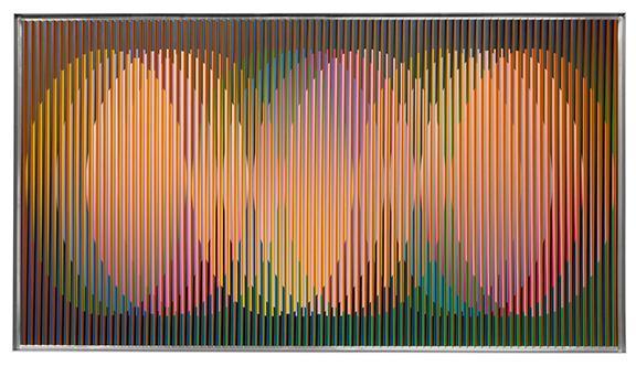 Carlos Cruz-Diez, Physichromie Panam 232, 2015, cromografia su alluminio, 50x90 cm