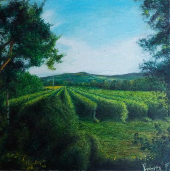 Patrick Pioppi, Il vigneto sotto la montagna, olio su tela, cm. 90x60