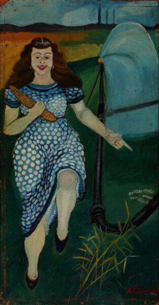 Antonio Ligabue, Figura di donna, s.d. (1953), olio su tavola di faesite, cm 200x100