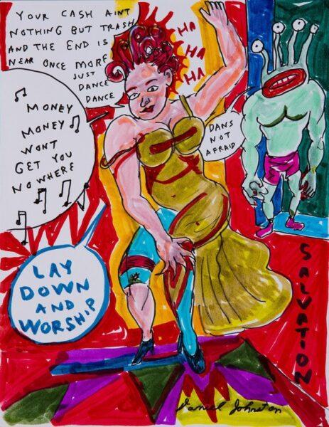 Daniel Johnston, Dans not afraid, 2010, pennarelli su carta, 30x21 cm. Courtesy RIZOMIarte
