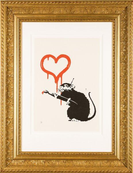 Banksy, Love Rat, serigrafia, carta, cm 50x34. Courtesy Galleria Deodato Arte