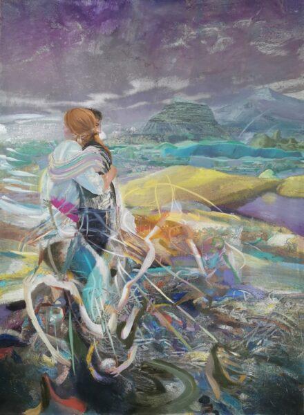 Giuseppe Gonella, The Surprise, 2018-20, olio su tela, 250 x 180 cm. Courtesy l'artista e Galleria Giovanni Bonelli
