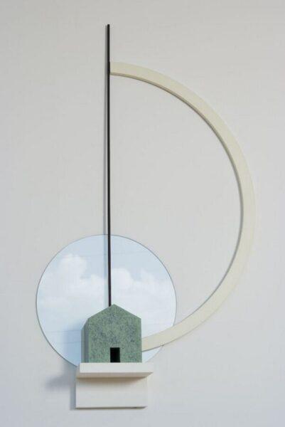 Flavio Paolucci, La linea nera ha interrotto il sogno, 2010, legno, colore, vetro, cm 130x53x17