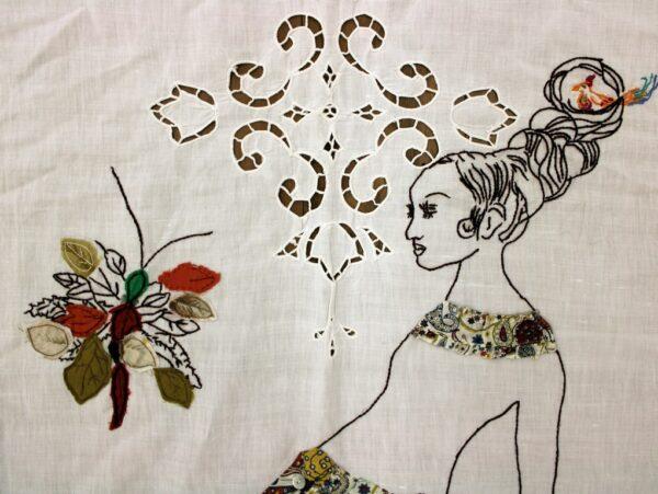 Loredanta Galante, Portatrice, 2021, ricamo e tessuto cucito su tende antiche, particolare