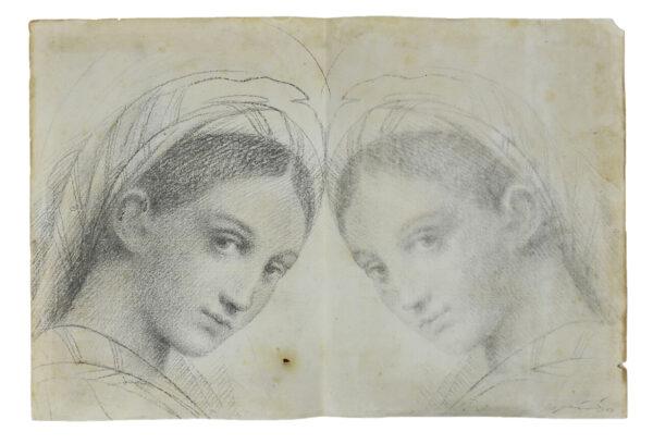 Omar Galliani, Da e per Raffaello, 1977, matita su carta, cm. 54x37