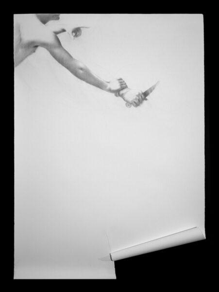 Omar Galliani, Dalla bocca e dal collo del foglio, 1977, matita su carta + collage, cm 200x140